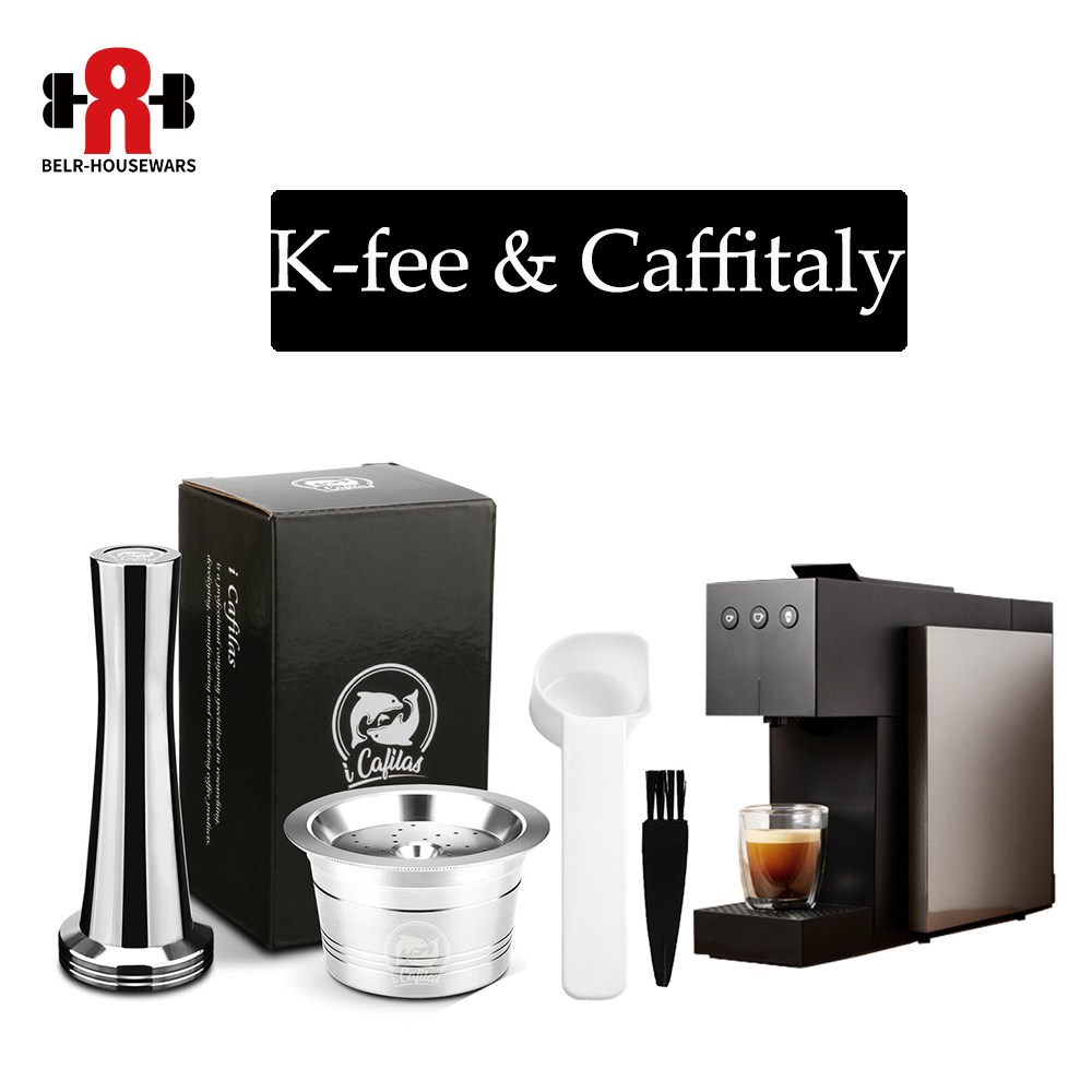 ICafilas Stainless Steel Coffee Capsule Pod Reuable K-Fee Filters For Tchibo Cafissimo ALDI Expressi Coffee Marke Tamper Spoon