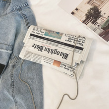 2019 Women Messenger Bag Fashion Chain Shoulder Bag Personality Small Square Newspaper News Styling Bags Wholesale Bolso Mujer