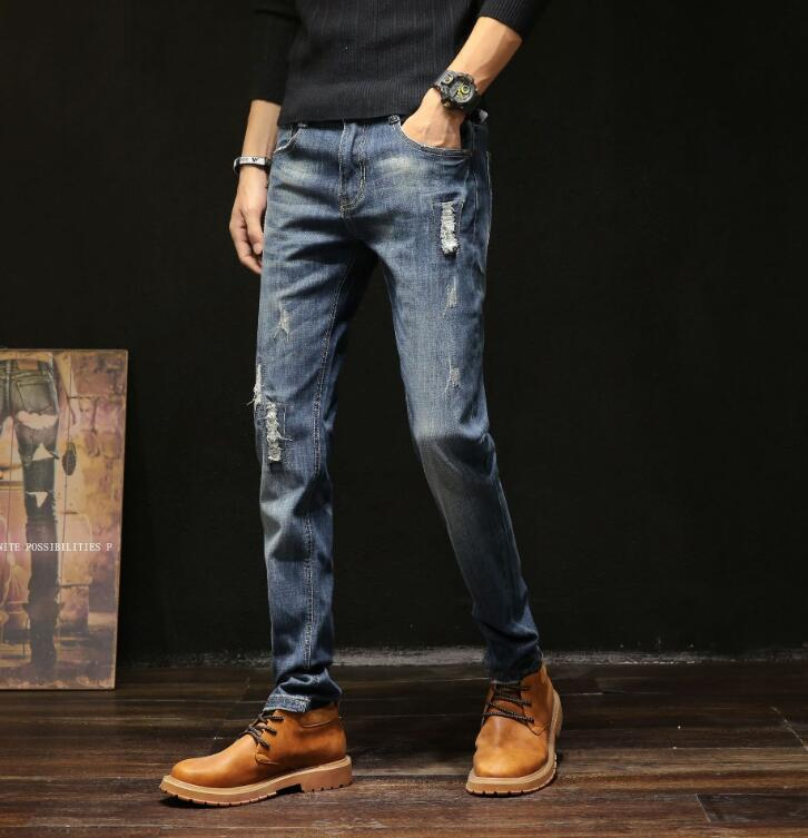 2020 Free Shippig Fashion Casual Slim Stretch Jeans Classic For Men Long Pants On Hot Sales 1