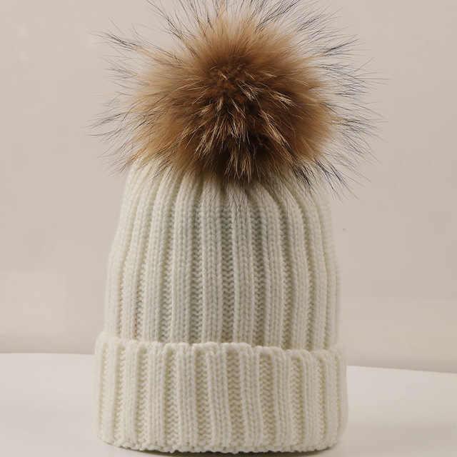 DANKEYISI Mink Fur Ball หมวกขนสัตว์ Pom Pom Skullies Beanies เด็กฤดูหนาวหมวกเด็กหมวกถัก Beanies หนาหมวกผู้หญิง
