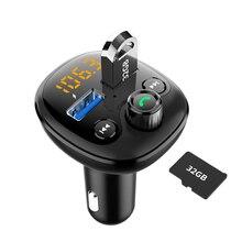 Qc 3.0 rápido carregador de carro bluetooth duplo usb carregador de telefone do carro móvel transmissor fm carregamento rápido mp3 tf cartão música carro kit jogador