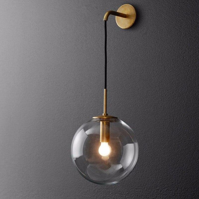 Modern Nordic Glass Wall Lamp Gold Black Metal Wall Sconce Bedroom Bedside Light Fixtures Bathroom Mirror Light Industrial Decor