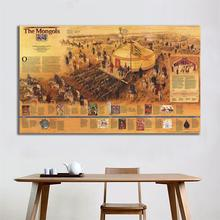 60x90cm The Mongols Map Fine Canvas Spray Painting Home Decor Art Crafts For Living Room Wall Decoration