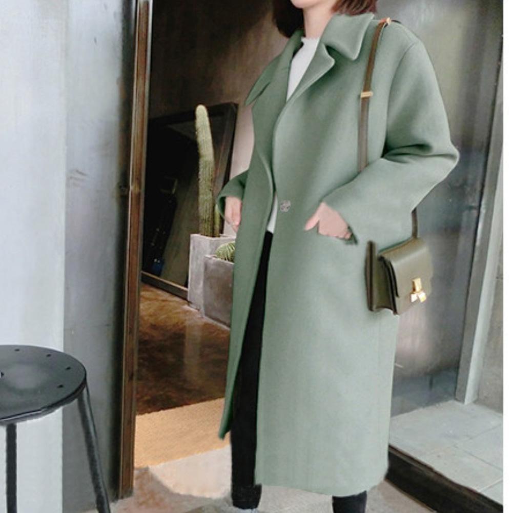 Women Winter Solid Color Lapel Collar Thicken Slim Long Trench Coat Warm Outwear Long Sleeve Coat Jackets Female Elegant Coat