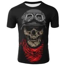 T-Shirt 3D Skull Print Short-Sleeved Breathable Plus-Size Men's Summer New And