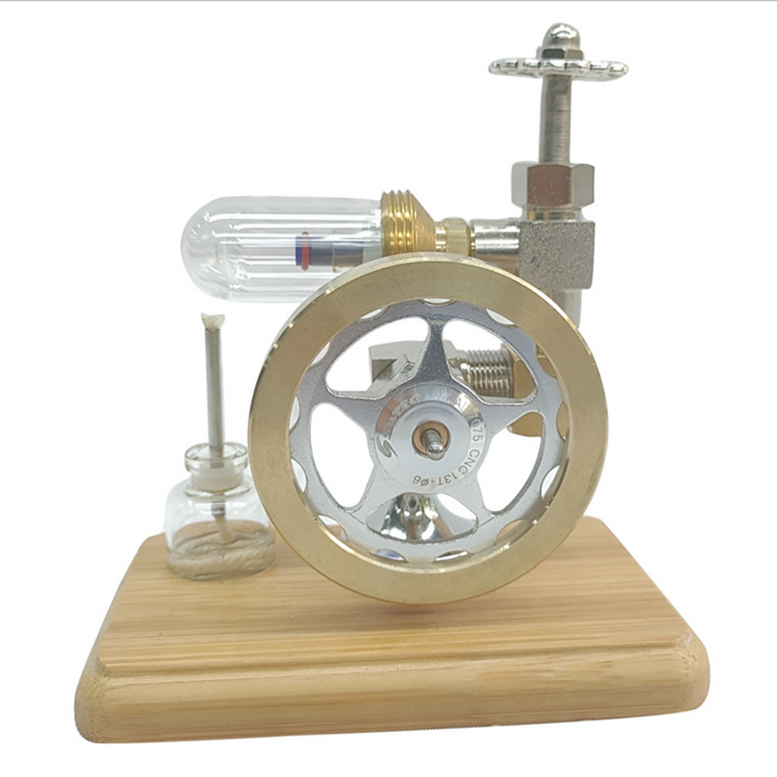 1pcs Small DIY Stem Adjustable Speed Free Piston Stirling Engine Model With Wooden Base
