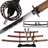 Free Shipping Decorative Samurai Swords Set/3pcs With Stand Real Steel Blade Black/Brown Japanese Tachi Ornament
