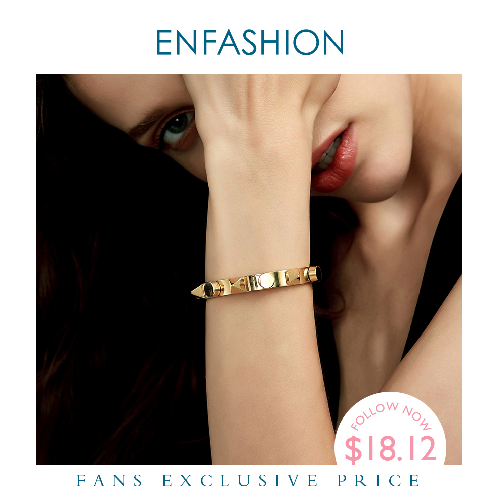Enfashion Pyramid Cuff Bracelet Manchette Armband Gold color Punk Spike Bangle Bracelet For Women Bracelets Bangles Pulseiras(China)