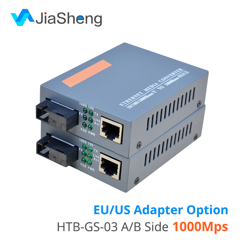 HTB-GS-03 A/B Gigabit Fiber Optical Media Converter 1000Mbps Single Mode Single SC Port 20KM External Power Supply