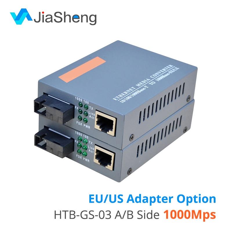 HTB-GS-03 A/B Gigabit Fiber Optical Media Converter 1000Mbps Single Mode Single SC Port 20KM External Power Supply