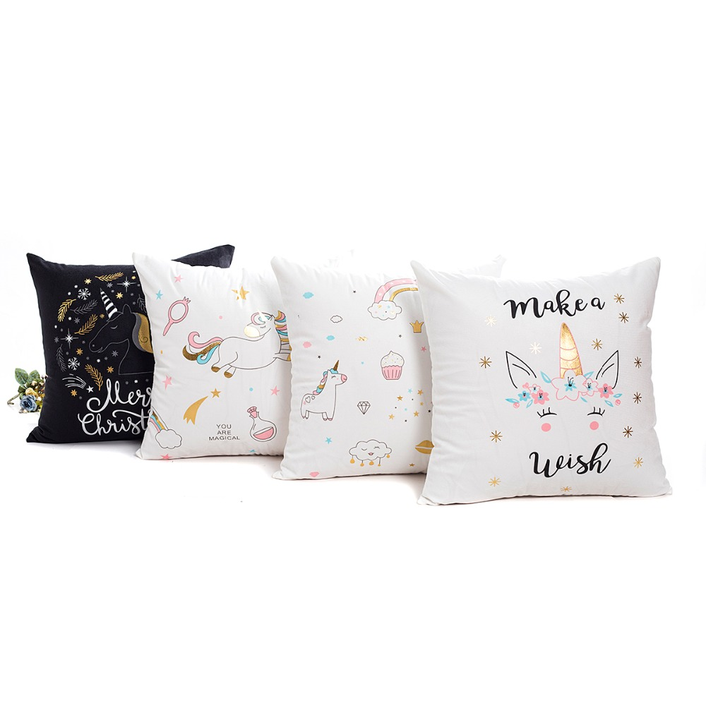 wholesale wedding gift <font><b>cushion</b></font> <font><b>cover</b></font> Golden Cute black white <font><b>unicorn</b></font> fashion Pink gold car office home party decor pillow case image