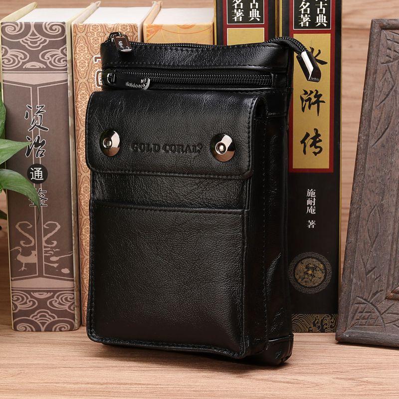 Natural Skin Male Belt Waist Bags Hip Bum Hook Fanny Pack Cell Phone Cigarette Case Skin Men Genuine Leather Mini Shoulder Bag