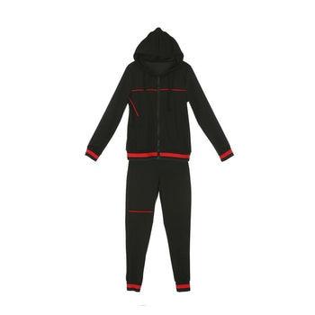 2020 Autumn Women's Sportswear 2pcs Women's Hooded Long Sleeve Zip Crop Tops Long Pants Trousers Loose Casual Clothes Set 4