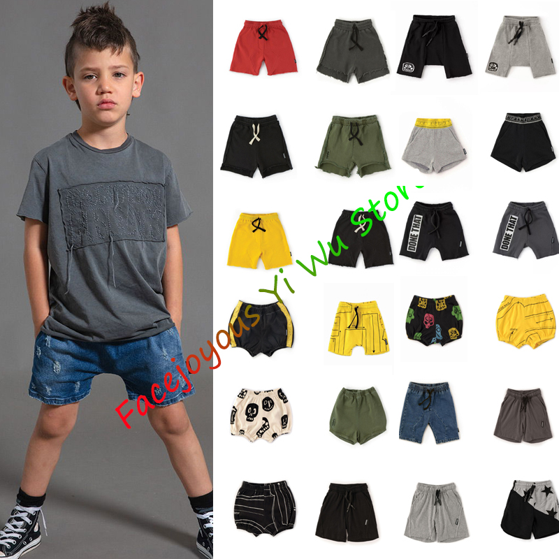 Kids Shorts 2020-NU-SS Baby Boys Girls Beach Shorts Children Robot Black Cotton Pants Baby Summer New Loose Elastic Shorts 1-16Y