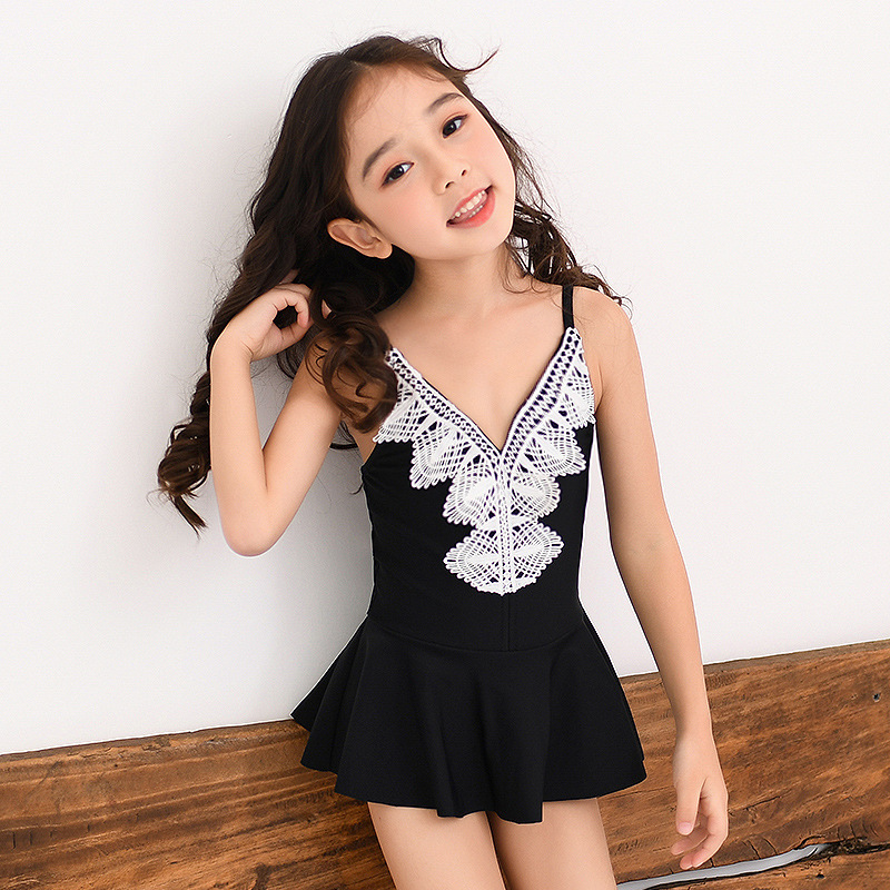 Children Dress-Bathing Suit Girls Small Middle And Large Baby Boxers Hollow Out Lace Swimwear Multi-Code Multi-color Bathing Sui