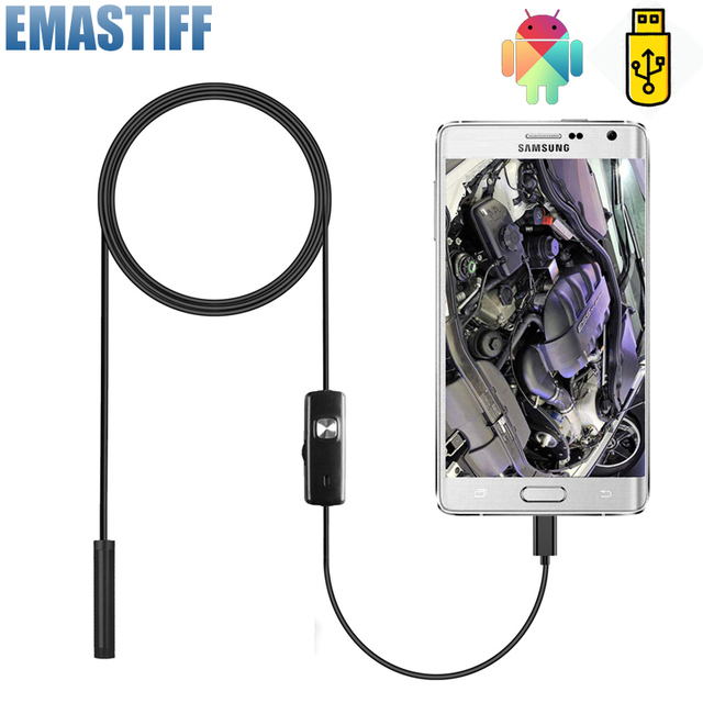 7mm Endoscope Camera Flexible IP67 Waterproof Micro USB Inspection Borescope Camera for Android PC Notebook 6LEDs Adjustable 1