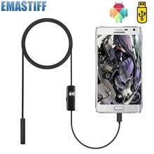 7mm câmera endoscópio flexível ip67 à prova dip67 água micro usb inspeção borescope câmera para android pc notebook 6leds ajustável