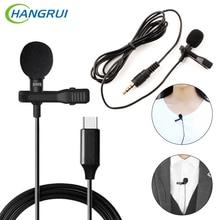 HANGRUI Mini Lapel Clip On Mic Condenser Microphone Voice Recorder Use Type C/3.55mm Plug For iPhone Samsung Xiaomi Mobile Phone