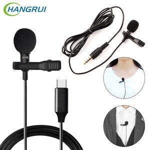 Image 1 - HANGRUI Mini Revers Clip Op Mic Condensator Microfoon Voice Recorder Gebruik Type C/3.55mm Plug Voor iPhone samsung Xiaomi Mobiele Telefoon