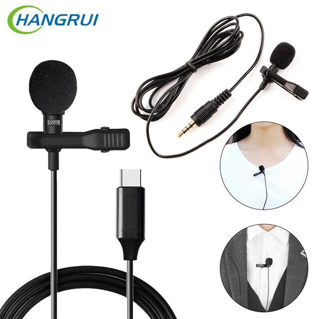 HANGRUI Mini Revers Clip Op Mic Condensator Microfoon Voice Recorder Gebruik Type C/3.55mm Plug Voor iPhone samsung Xiaomi Mobiele Telefoon
