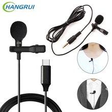 Hangrui mini clipe de lapela, microfone condensador gravador de voz uso c/3.55mm plugue para iphone celular samsung xiaomi