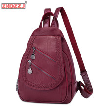 Fashion soft leather woven zipper female backpack high quality leather bag multifunctional breathable waterproof travel backpack(China)