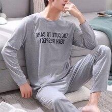 PUIMENTIUA Men Cotton Pajamas Sets Letter Striped Sleepwear Cartoon Pajama Sets