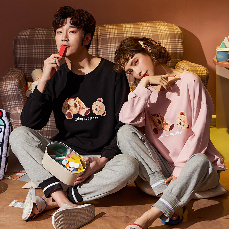 JULY'S SONG Spring Summer Long Sleeve Pajamas Sets Casual Cartoon Women Men Nightwear Couple Sleepwear Cotton Soft Homewear