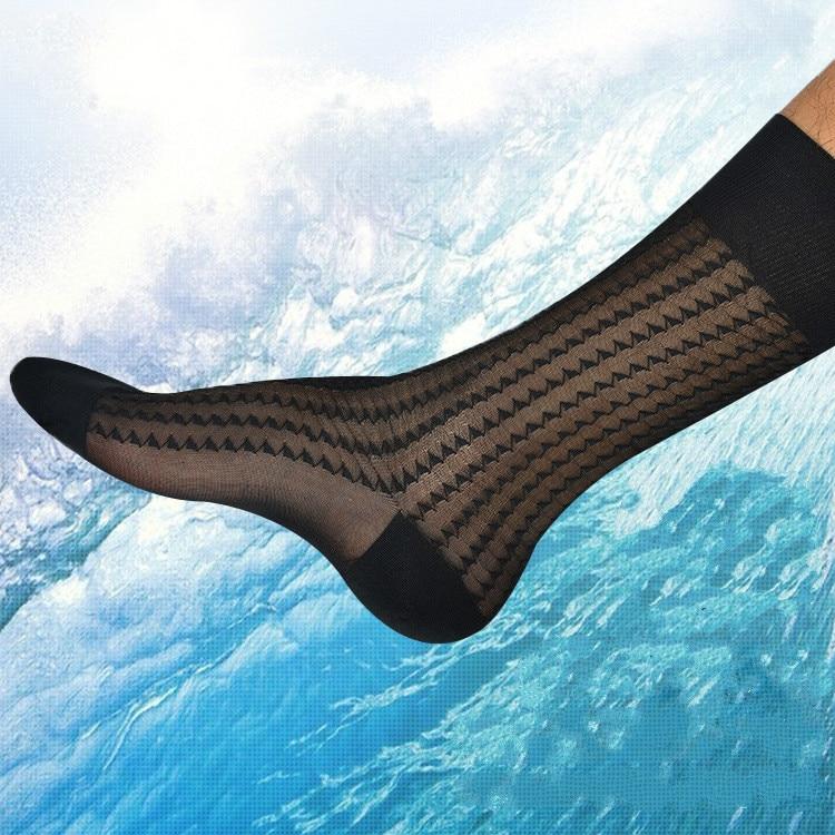 Men's Socks Ice Silk Socks Ultra Thin Men's Business Dress Thin Socks Erotic Formal Dress Socks Sexy Sheer Transparent Socks