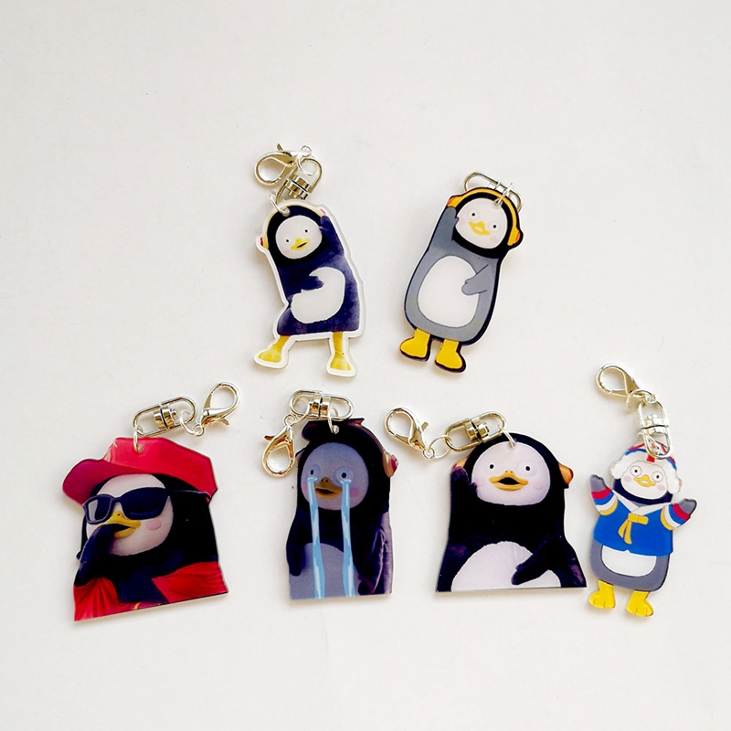 South Korea Pengsoo Penguin Action Figures Toy Cute Puppets Animal Plastic KeyChain Pendant For Bag