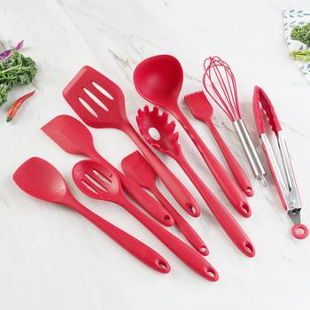 11PCS Of Kitchen Utensils Set Cooking Tools Set Silicone With Holder Box Nonstick Spatula Wooden Cookware Appliances Kitchenware