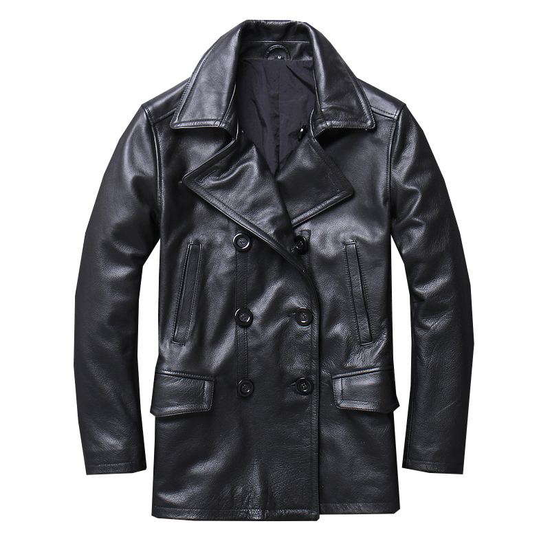 2020 Black Men Long Russian Casual Jacket Double Breasted Large Size XXXXXL Genuine Cowhide Autumn Fashion Leather Coat
