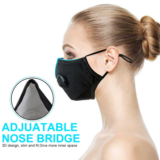 Adult Kids Dustproof Mouth Face Mask  Breathable Valved Dust Mask Respirator Washable Reusable 2