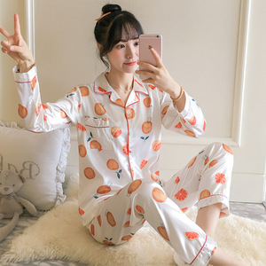 Image 4 - BabYoung משי פיג מה לנשים של חדש קיץ ארוך שרוול צווארון סידור יומי בית ללבוש שני חלקים חליפת PJS