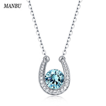 ManBu Elegant Nacklace 100%Sterling Sliver Charm Multicolor Birthstone Pendants Necklaces For Women  Fashion Jewelry