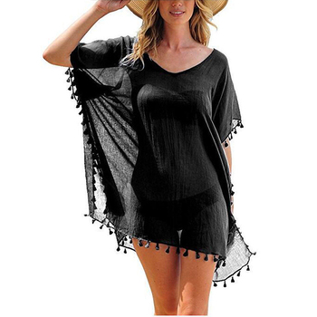 2020 Chiffon Tassels Beach Wear Women Swimsuit Cover Up Swimwear Bathing Suits Summer Mini Dress Loose Solid Pareo Cover Ups 2