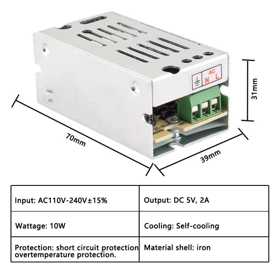 AC DC 110V 220V TO 5V Power Supply 5V 2A 3A <font><b>5A</b></font> 10A 20A 30A 5V Power Supply Transformer 220V To <font><b>5</b></font> <font><b>V</b></font> Volt Alimentation Led Driver image