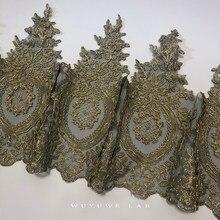 Delicate 1Yard Heißer Verkauf Gold Stickerei Schwarz Mesh Spitze Trim DIY Luxus Spitze Stoff für Brautkleider 31cm hohe Qualität