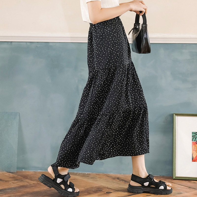 Summer New Style Breathable Quality Fresh Very Fairy Of Method Half-length Public Polka Dot Small New Style Country Skirt Medium