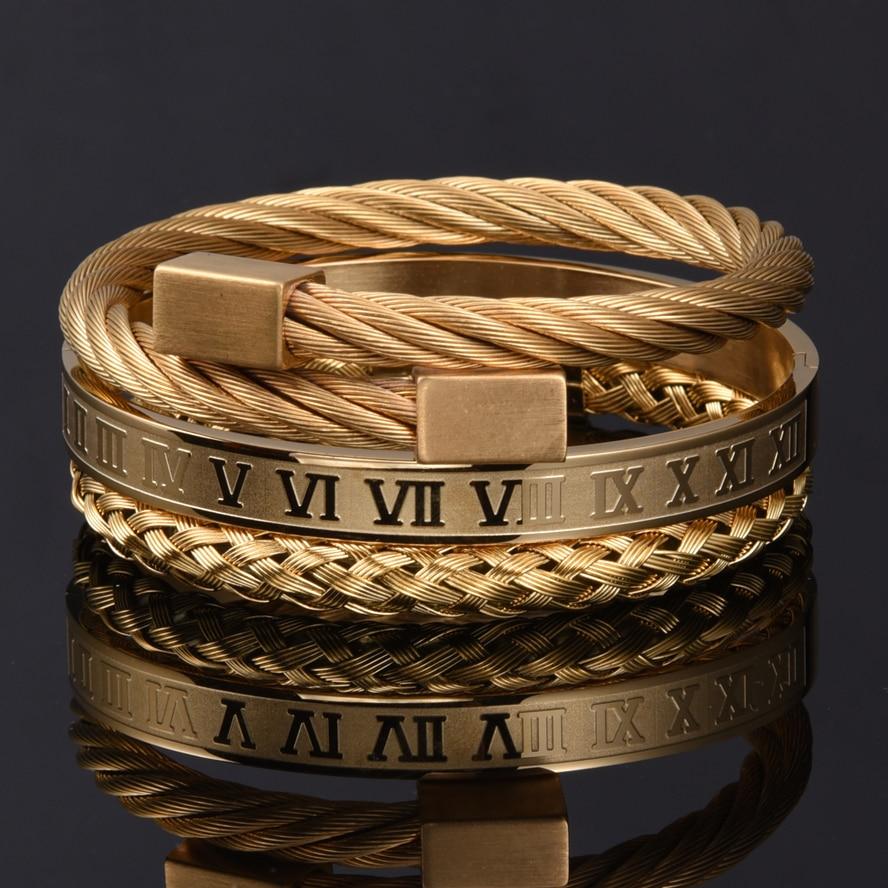 Luxury 3pcs/Set Stainless Steel Bracelet Hip Hop Men Jewelry Roman Number Charm  Gold Color Jewelry For  Men Pulseira Bileklik 4