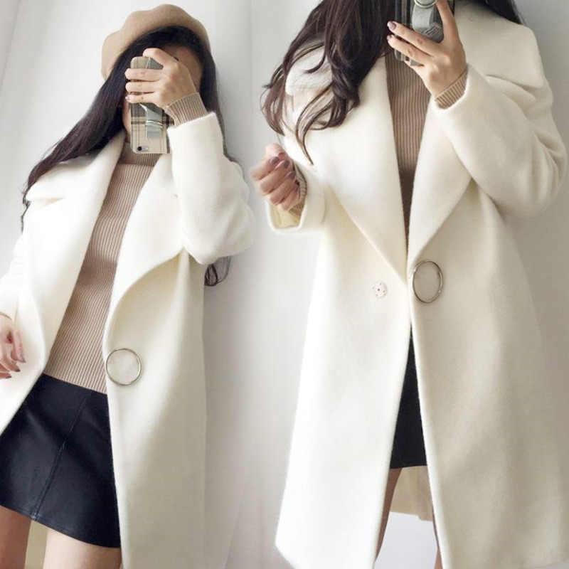 XUXI 女性白ウール混合コート女性長袖冬のファッションコート繊細なウールコート 2019 女性のオーバーコート FZ796