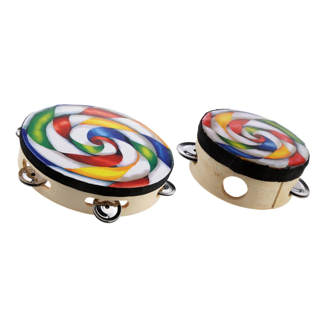 2pcs Hand Held Tambourine Drum Round Percussion Toy Musical Instrument For Children Kids
