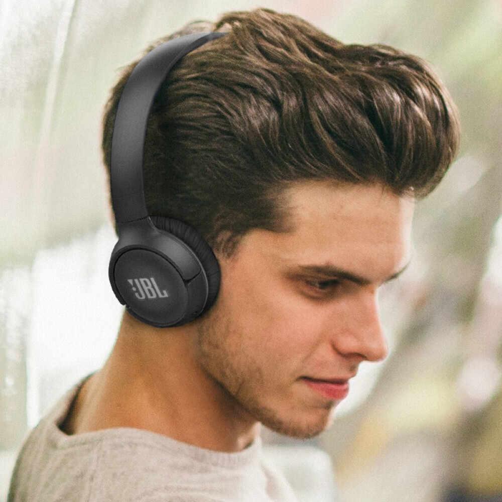 JBL T500BT bezprzewodowe słuchawki Bluetooth płaskie składane słuchawki douszne zestaw słuchawkowy z mikrofonem redukujące hałas słuchawki sterowanie połączeniami i muzyką