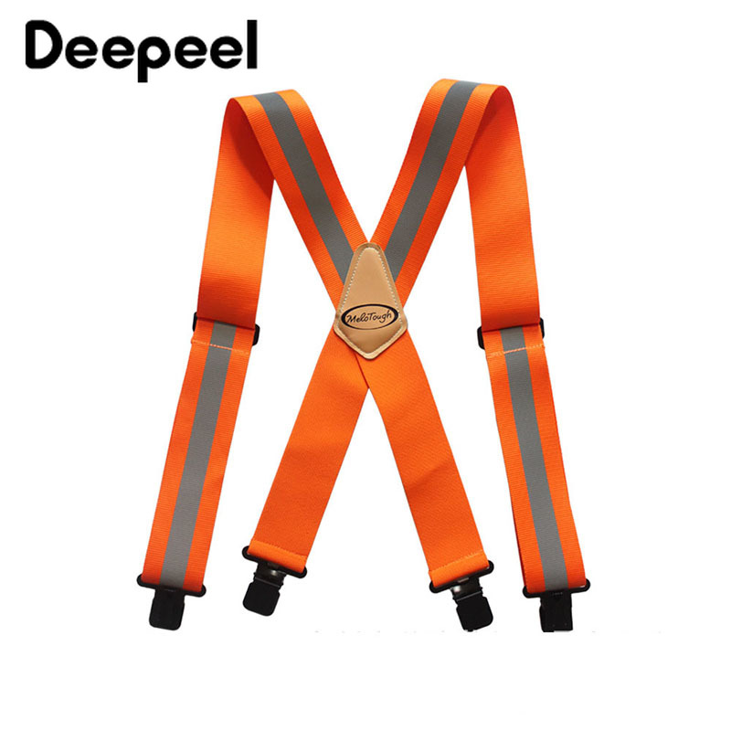 Deepeel 1pc 5*110cm Men's Work Clothes Suspenders Elastic Wide Adjustable X Type Strap Fluorescent Orange Tool Stripe SlingSP077