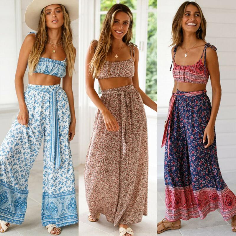 Hirigin Summer Wide Leg Pants Women Boho Print Loose Elastic Waist Casual Trousers Beach Holiday Fashion Female Clothing