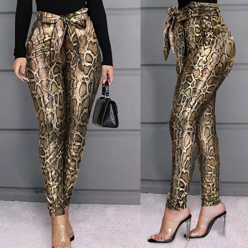 Brand New Women Stretch Pencil Slim Pants PU Leather Snakeskin Trousers Skinny High Waist Casual Elastic Flat Pencil Pants
