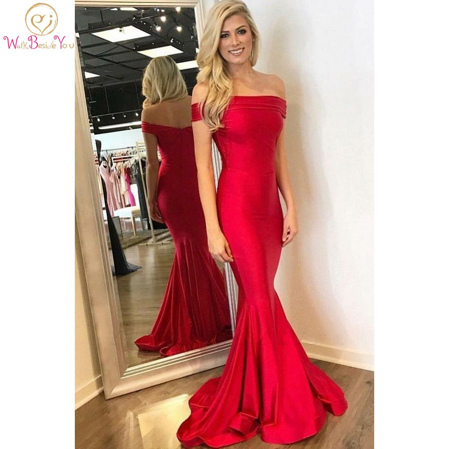 Elegant Mermaid Red Evening Dresses 2020 Long Off-The-Shoulder Prom Dresses Sweep Train Pleats Simple Formal Party Women Wear