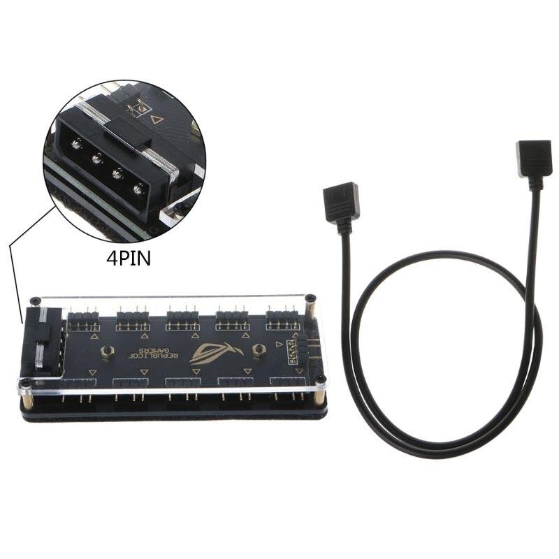 AURA SYNC 5V 3-pin RGB 10 Hub Splitter SATA Power Adapter for GIGABYTE MSI A SUS X6HA