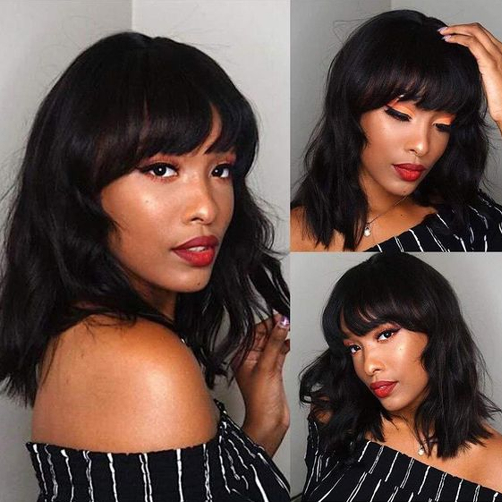 Sapphire Natural Wave Short Bob Wigs Bang Short Bob Human Hair Wigs For Black Women Peruvian Short Human Hair Wigs With Bang