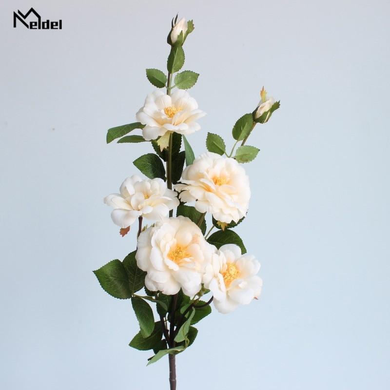 Meldel Artificial Flower Wedding Bouquet Bridesmaid Wedding Flowers Bouquets Silk Rose Flower Arrangement DIY Home Decoration